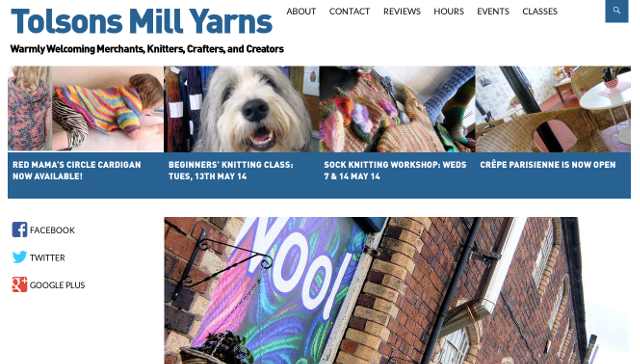 snapshot of Tolsons Mill Yarns Website